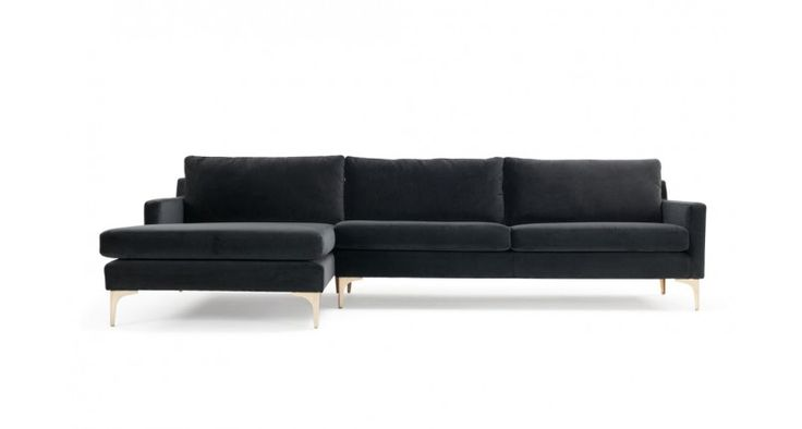 Astha, 3-seater sofa w/ chaiselong left, Velour Dark Grey, Brass Color Legs