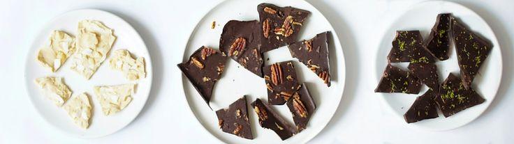 Lekkere chocola Witte chocola met macadamianoten & kokos Chocola met zeezout & pecannoten Chocola met chili & limoen