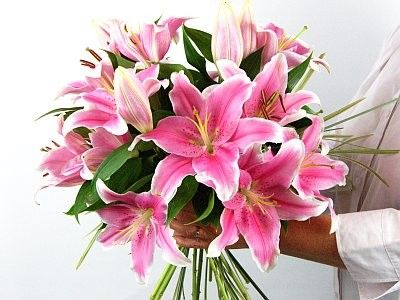Image result for pink lily bouquet