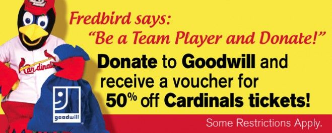 #Donate to #Goodwill and receive a voucher for 50% off @St. Louis Cardinals tickets! Click here for more details: http://mersgoodwill.org/promotion/ #STLCardinals #Fredbird
