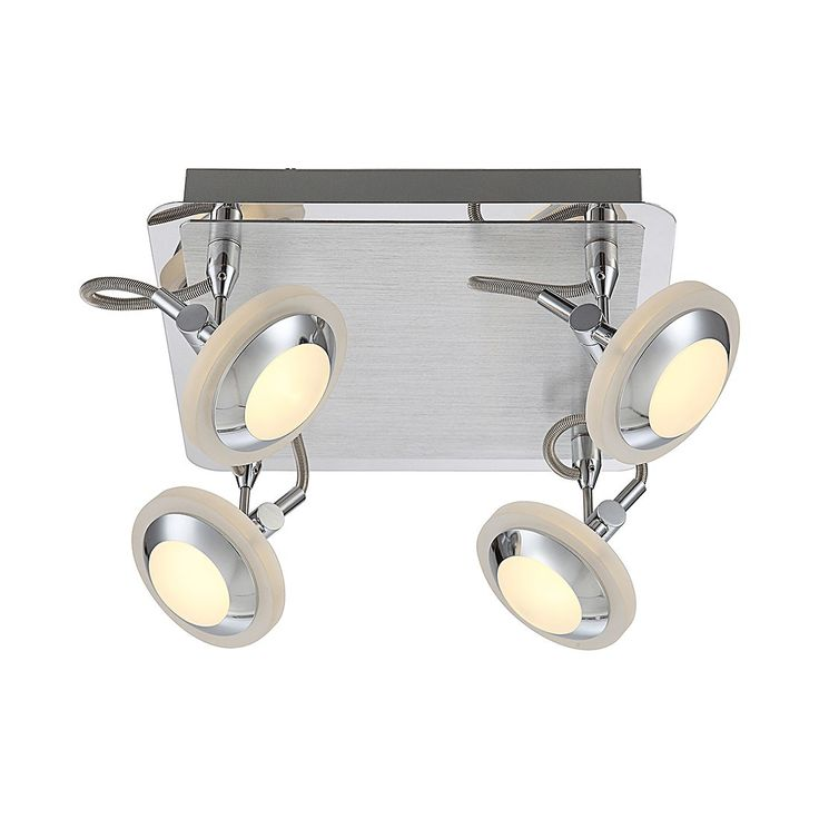 EEK A+, Deckenleuchte Tommy - Aluminium - Silber - 4-flammig, Lux