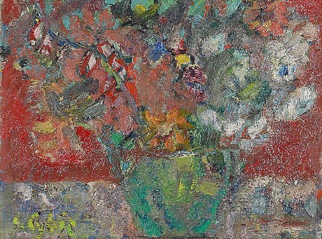 Jan CYBIS (1897-1972)  Kwiaty w zielonym naczyniu, 1948-1962 olej, płótno; 41 x 52 cm;
