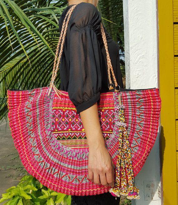 Sac broderie Hill Tribe, tribale, gypsy hippie sac sac Hmong Miao, grand