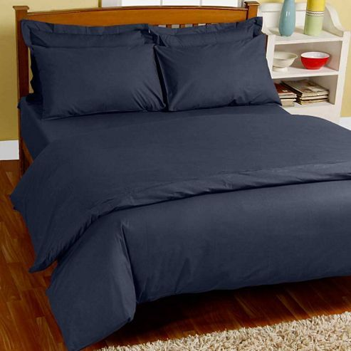 Homescapes Navy Blue Egyptian Cotton Single Duvet Cover with One Pillowcase, 200 TC