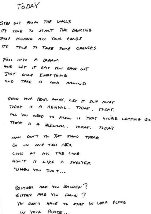 """Lyrics for """"Today"""" by Steve Moakler."""