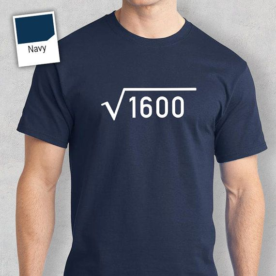 "The perfect gift to celebrate a 40th birthday - with Rare Occasions exclusive ""square root 1600"" design!  This makes a great 40th birthday present for those born in 1977.  We can print for any year or age, if you require a year or age not listed please contact me or simply order and leave your requirements via the notes section within the shopping cart.  If you require a different birthday design or birth year please check following section of our store: https://www.etsy.com/sh..."