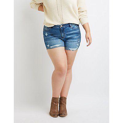 3542c61c69 Refuge Girlfriend Destroyed Denim Shorts Plus Size Festival Outfit,  Festival Wear, Festival Outfits,