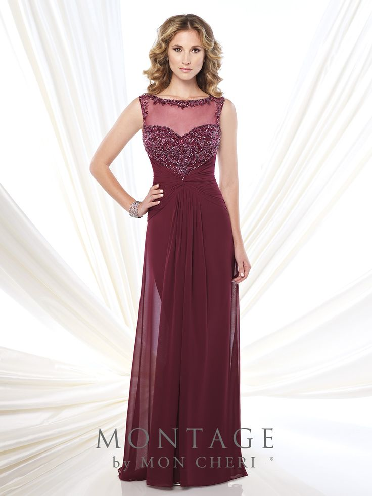 Montage by Mon Cheri - 114910 - Sleeveless chiffon A-line dress with illusion bateau neckline trimmed with ornate hand-beading, sweetheart bodice encrusted with beading features an unique beaded illusion racer back, midriff and skirt gathered at center, sweep train, suitable as a dress to wear to a wedding. Matching shawl included.  Sizes: 4 – 20  Colors: Taupe, Light Turquoise, Wine, Ivory, Royal Blue, Black