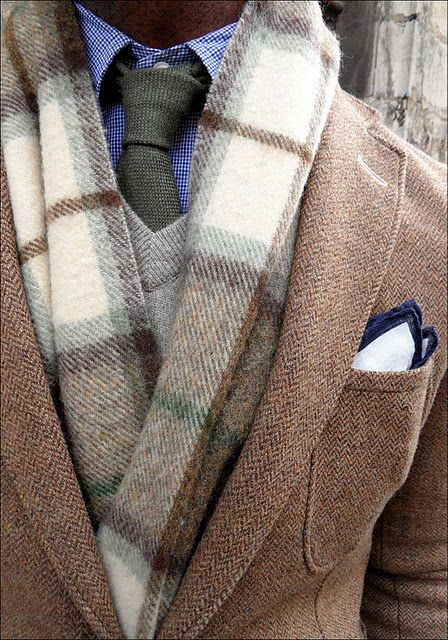 Check button down, textured tie, v-neck sweater, plaid scarf, and herringbone blazer. So many layers and textures. A great, chic style idea for men!