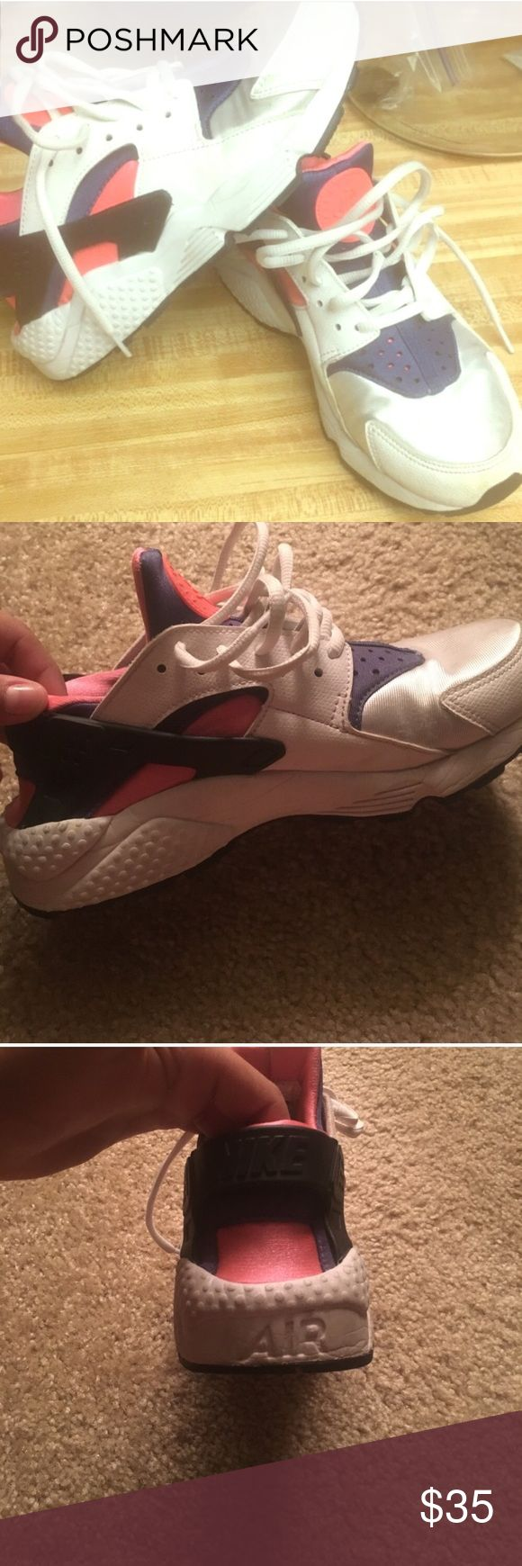 Nike huaraches size 8 rare colors! Pink blue white and silver , 8/10 condition Nike Shoes Sneakers