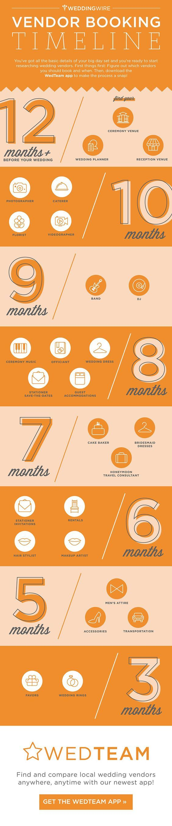 Essential timelines to keep in mind for your next event - Grab the Vendor Booking Timeline infographic.