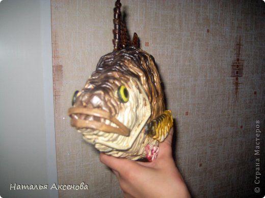 Картина панно рисунок Плетение Панно рыба-окунь Бумага газетная Крупа Трубочки бумажные фото 5