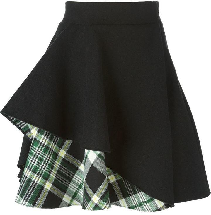 Alexander McQueen tartan insert ruffled skirt