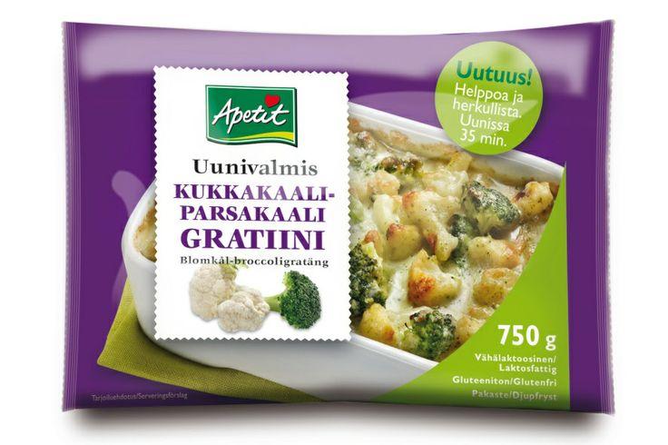 Apetitin Kukkakaali-parsakaaligratiini saa lisäpotkua ihanista juustoista. Helppo valmistaa joko uunissa tai mikrossa. Bling, jo on valmis. Tämä nopea herkku on vähälaktoosinen, gluteeniton ja kananmunaton, joka on monen herkkusuun onni. Tämäkin uuniherkku tuli kokeiluun Hopottajien kautta. Kiitos siitä :) Ja lisää Apetitin uunigratiineista täältä: http://www.hopottajat.fi/apetitgratiinit/