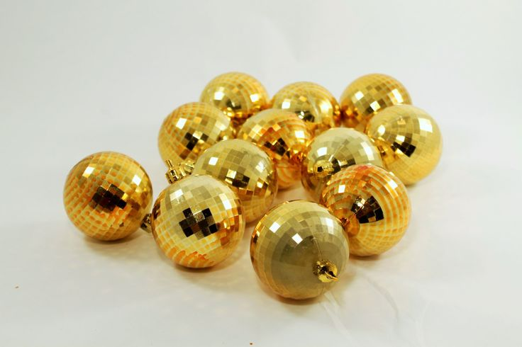 Christmas gold plastic disco balls by ClockworkRummage on Etsy
