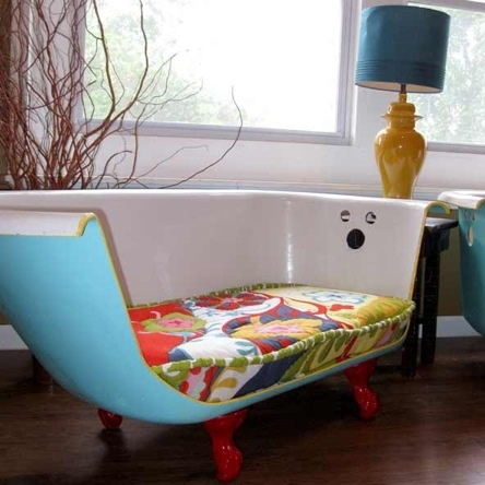 Retro sofa made from an old vintage bathtub. Designer Jill Morrison.