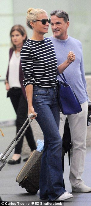 So chic: The actress was casual but stylish in bootleg jeans and a striped top...