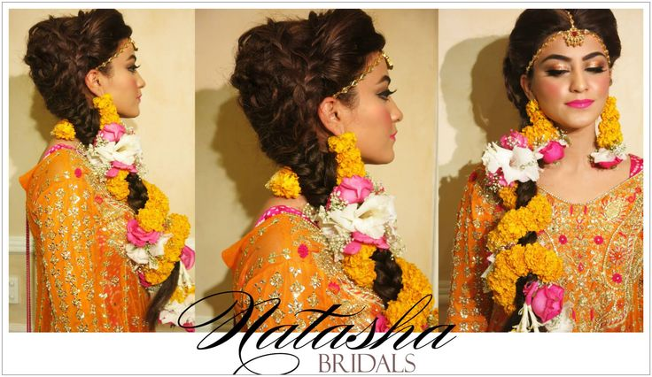 This beautiful mehndi bride got a 6 strand braided do to go with her beautiful flowers paired with stunning shimmering molten yellow gold eyes , 100watt skin and a glossy hot pink lip!