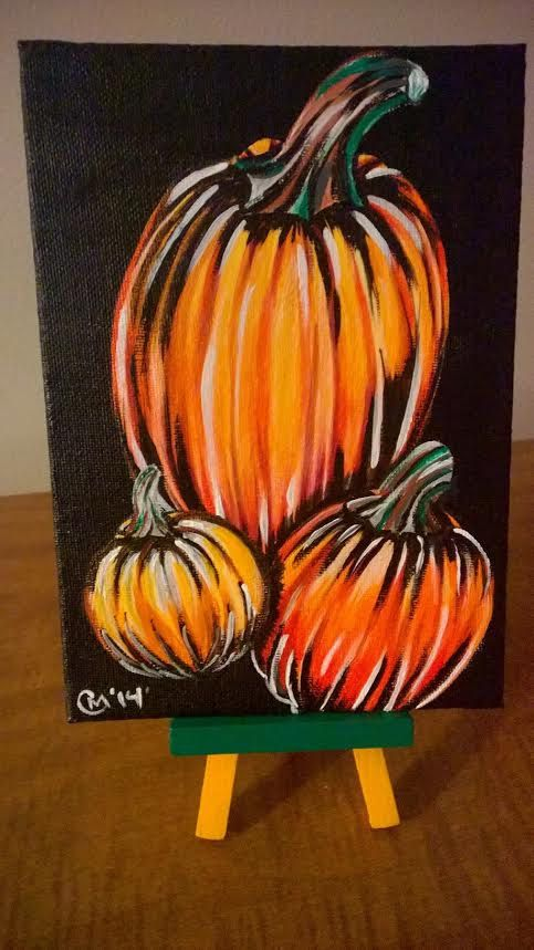 Halloween, Thanksgiving seasonal painting of 3 Pumpkins 5x7 canvas panel with matching easel
