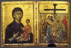 Богоматерь Одигитрия. Снятие со креста. Триптих; Византия. Константинополь; XIV