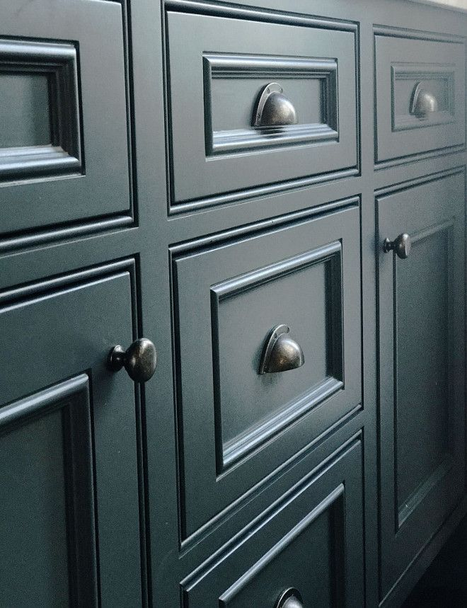 BM Deep Secret - an intriguing color! Is it deep green, deep blue with a touch of gray, blue/green??? What ever it is, I like yet and also like the millwork on these cabinets and drawers.
