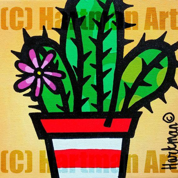 Yellow Cactus Art Print home plant kitchen art by ElsHartmanArt
