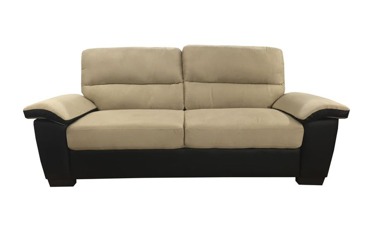 Classic Soft Microfiber and Bonded Leather Love Seat in Beige