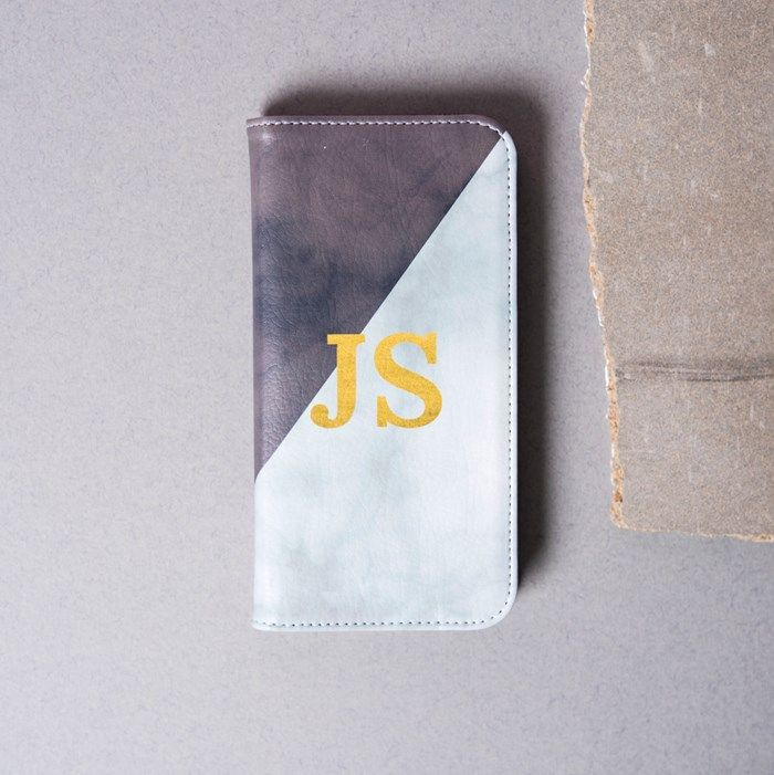 Personalised iPhone Folio Wallet Cover - Marble Gold Initials | GettingPersonal.co.uk