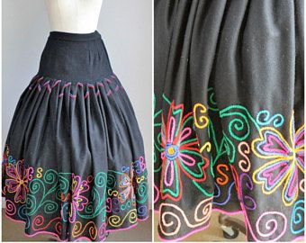 Vintage 1940s 1950s Black Wool Mexican Circle Skirt / 50s Day of the Dead Full Circle Skirt /  Pleated Multi Colored Embroidery /Gothic