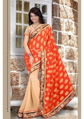orange, saree georgette, - 82,00 €, #SariPasCher #RobesIndienne #LesSariIndien2016 #Shopkund