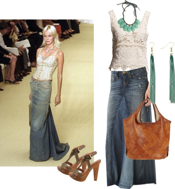 """""""maxi jean skirt style"""" by eflatun ❤ liked on Polyvore"""