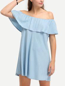 Vestido hombro al aire volantes -azul claro