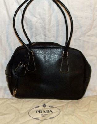 prada black leather satchel handbag purse