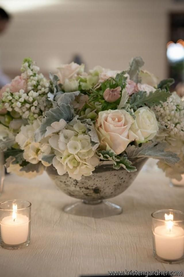 Hints of blush, grey and white. Beautiful wedding flowers. Source: Alison Harper and Company. centerpiece vintage