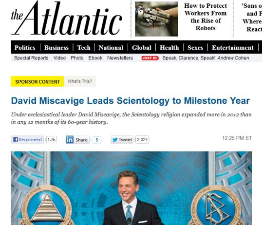 Native advertising: Scientology can't buy love.  This group's reputation is such that it even smeared the medium on which the ad ran.