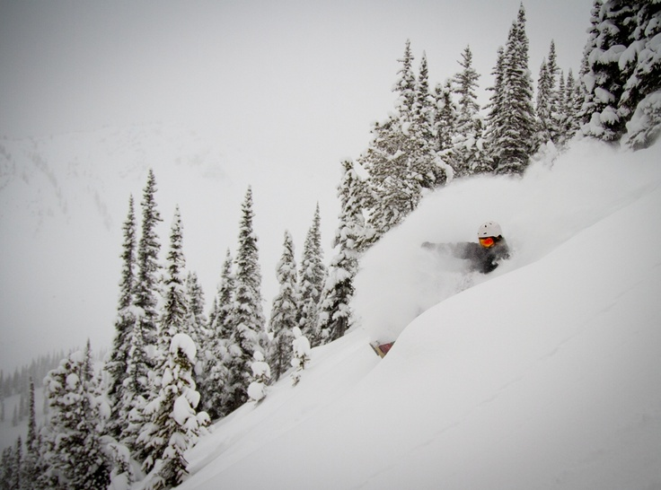 Snowboarding at Kicking Horse Mountain Resort in Golden, BC. Amazing powder!