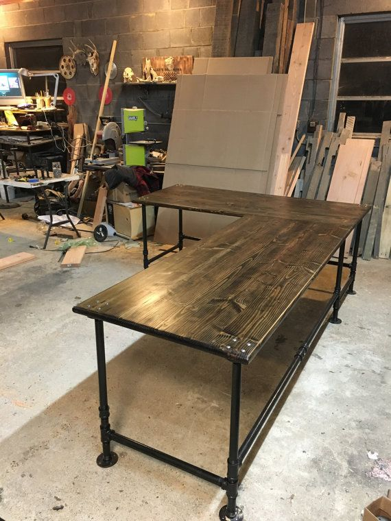 This listing is for an industrial pipe L-shaped desk.  This item is completely customizable in terms of dimensions, stain, and design. We can also