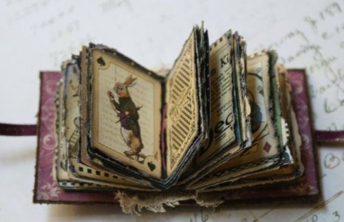 alice book by salmbaMinis Book, Stories Book, Handmade Book, Alice In Wonderland, Wonderland Minis, Mini Books, White Rabbit, Altered Book, Plays Cards