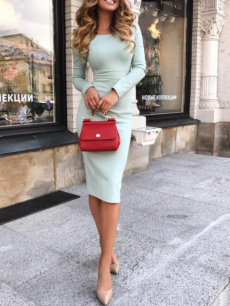 Trendy Solid High Waist Midi Bodycon Dress