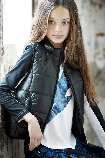 Tween fashion - Tahlia by Minihaha Black Nylon Puffa Vest