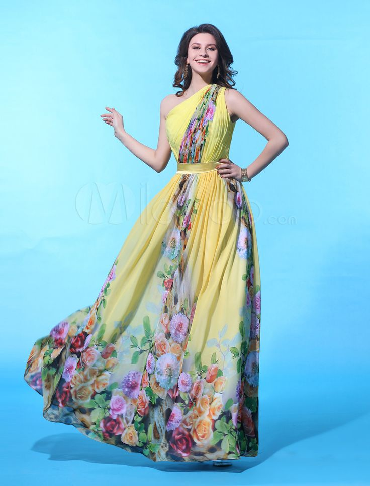 Chic Daffodil Chiffon Floral Print One-Shoulder Sexy Evening Dress - Free shipping for all