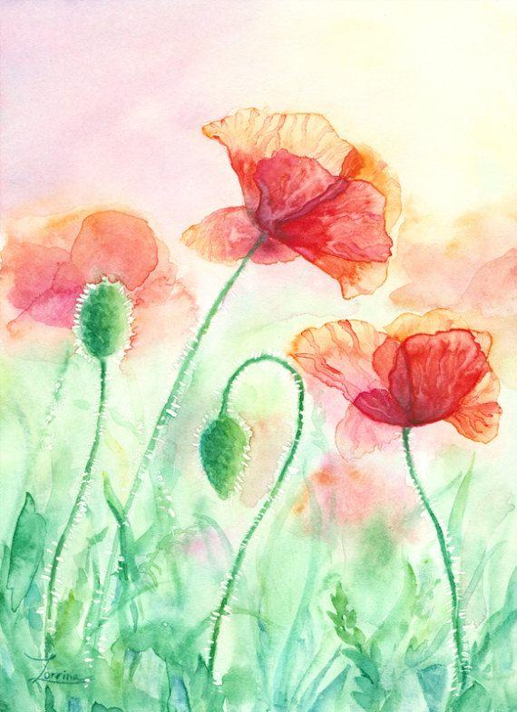 Watercolor hand painting Red Poppies flowers. Green summer field. JPG downable and printable. High resolution digital file by ZorrinaArt