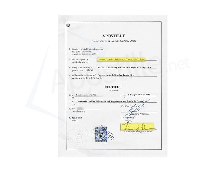 State of Puerto Rico Apostille issued by Francisco Rodriguez Bernier - copy apostille birth certificate massachusetts