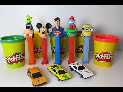 Racing Cars Mickey Minions Pez Candies with Play Doh Circuit by Kids Wow…