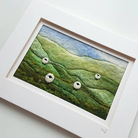 Felted and embroidered sheep landscape original artwork by Tilly Tea Dance https://www.etsy.com/uk/listing/494715840/sheep-on-a-hillside-original-needle