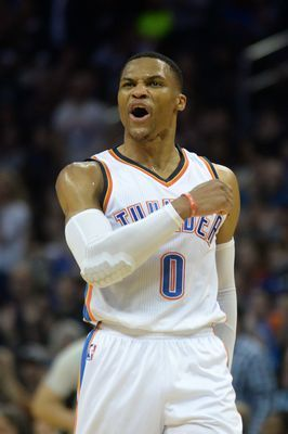 Oklahoma City Thunder guard Russell Westbrook (0) reacts after a play against the Detroit Pistons during the second quarter at Chesapeake Energy Arena.(Photo: Mark D. Smith, USAT)     There's a triple-double revolution sweeping the NBA this season, and Russell Westbrook is leading...  http://usa.swengen.com/usa-today-sports-nba-triple-double-tracker-2/