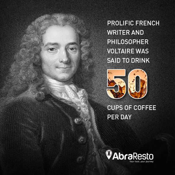 French writer and philosopher Voltaire was said to drink 50 Cups of Coffee per day!