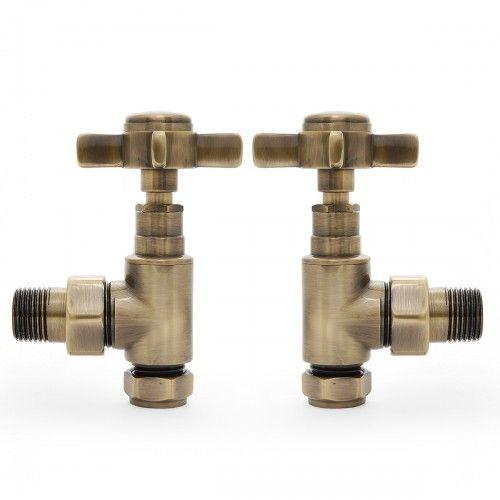 Antique Brass Angled Crosshead radiator valve | Castrads.com #antiquebrass #radiatorvalves #taps
