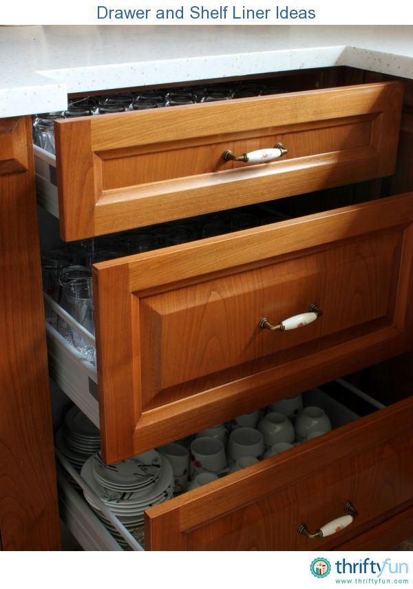 This is a guide about drawer and shelf liner ideas. There are many products that can be used to line drawers and shelves, in addition to those sold for this purpose.