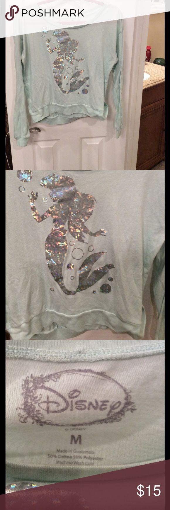 Disney little mermaid top Long sleeve mint green shirt with Little Mermaid metallic decal Disney Tops Tees - Long Sleeve